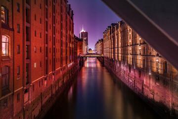 Speicherstadt Hamburg bei Nacht
