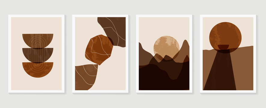 Mountain wall art vector set. Earth tones landscapes backgrounds set with moon and sun.  Abstract Plant Art design for print, cover, wallpaper, Minimal and  natural wall art. Vector illustration..