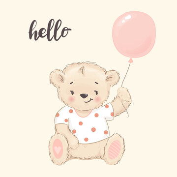Cute little bear with balloon. Cartoon vector illustration, posters for baby room, hello card, kids t-shirts and wear, nursery character design