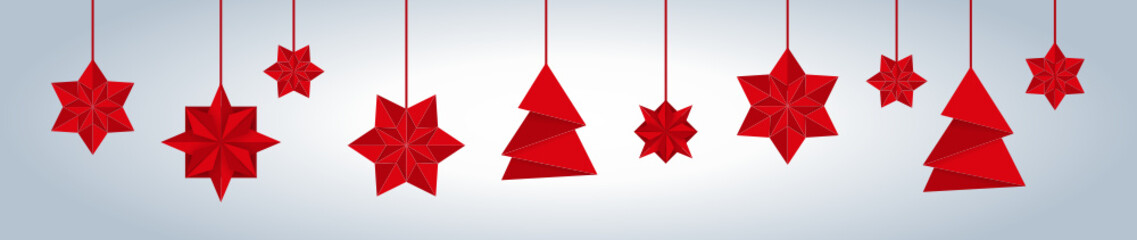 Fototapeta Weihnachtsbanner mit Origami Sternen und Weihnachtsbäumen