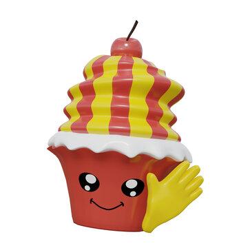 Lustig, winkender Emoticon Cupcake mit Kirsche. 3d rendering