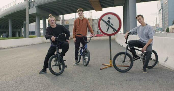 Extreme bmx cyclists outdoors