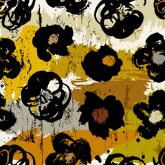 floral seamless background pattern, with abstract brush flowers, paint strokes and splashes
