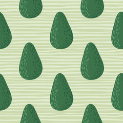 Vegetarian seamless pattern with organic doodle avocados. Breakfast food green ornament on light stripped background.