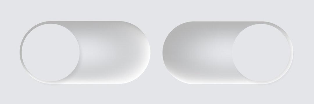 Switch slide vector illustration in modern neumorphism style, neomorphic slides illustration