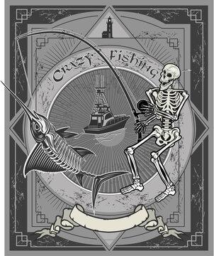 Crazy fishing. Skeleton fisherman catching marlin