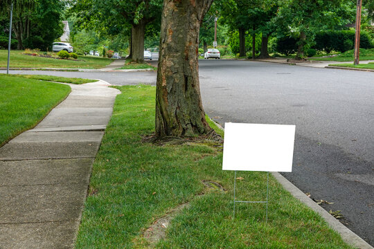 A white blank advertisement sign on a grassy strip near a street and a tree trunk