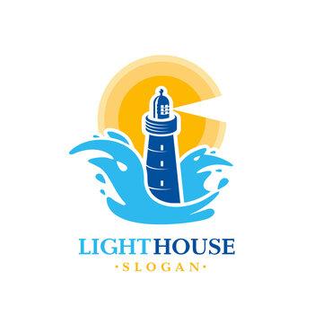 Lighthouse logo silhouette beacon and waves sea sun