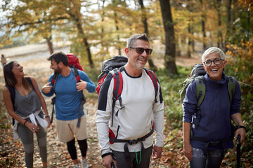 Fototapeta Family hiking; Quality family time concept