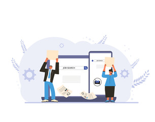 Fototapeta Unemployment. Job search. Two dismissed coworkers try to find a work online. Fired people standing near huge phone. Vecto illustration.