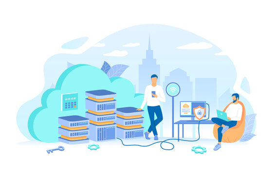 Users connect to the cloud servers from laptop, computer, phone. Cloud computing and web services, data storage, hosting. Working process, teamwork communication. Vector illustration flat style.