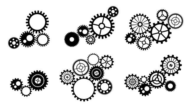 組み合わさった歯車のシルエット_イラスト素材セット