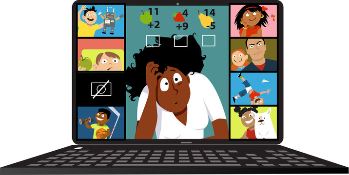 Stressed elementary school teacher having problems conducting a lesson via video chat with her students, EPS 8 vector illustration