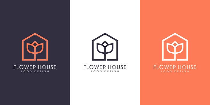 flower house logo vector design