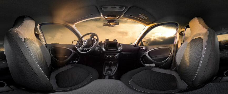 Brilon, North Rhine Westphalia/Germany - September 30th 2020: illustrative editorial car type Smart eQ four four interior view as 360 degree panorama. The rear seats are folded down.