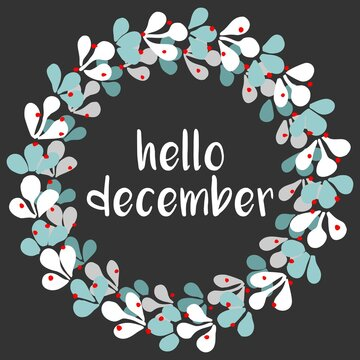 Hello December vector wreath isolated on black background