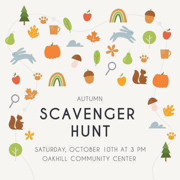 Autumn Scavenger Hunt Game or Woodland Walk Card, Poster or Invitation. Vector Design