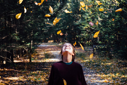 young woman in the fall in New England