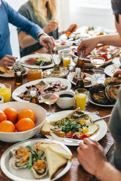 Group of friends eating brunch
