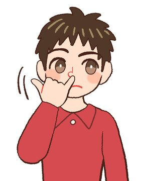 Clip art of a child of a man picking his nose