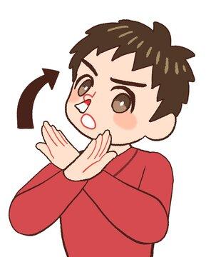 鼻血のときに上を向く間違った対応にダメ出しする男の子供のイラスト