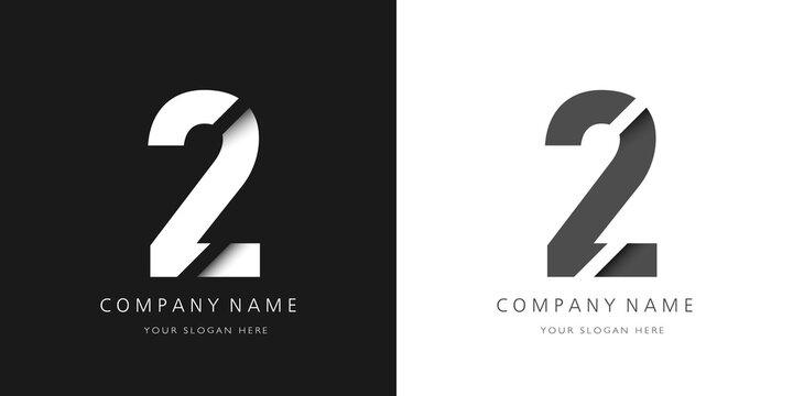 two number modern logo broken design