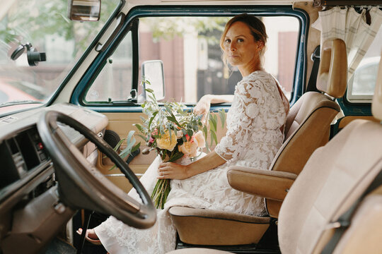 Bride in the Passenger Seat of a Vanagon