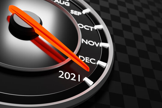 3D illustration close up black speedometer with cutoffs 2020,2021 and calendar months. The concept of the new year and Christmas in the automotive field. Counting months, time until the new year.