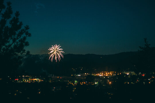 Fireworks in the valley of a small town