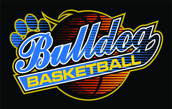 bulldog basketball team design in script with ball for school, college or league