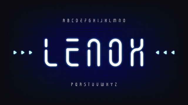 Futuristic modern rounded condensed thin sci fi display stencil font clean letter set lenox typeface
