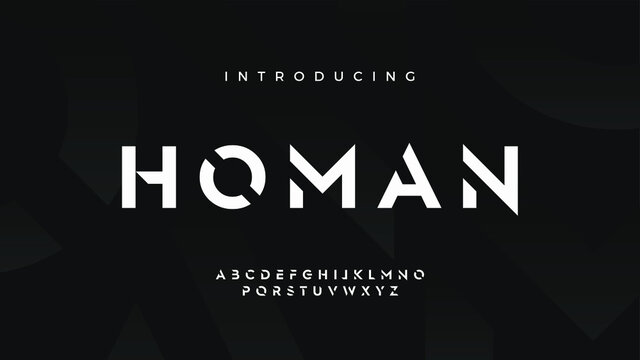 Futuristic modern techno sci fi bold display stencil font, abstract geometric clean monospaced letter set homan typeface