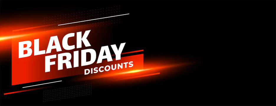 Black friday sale discounts shiny banner on black background