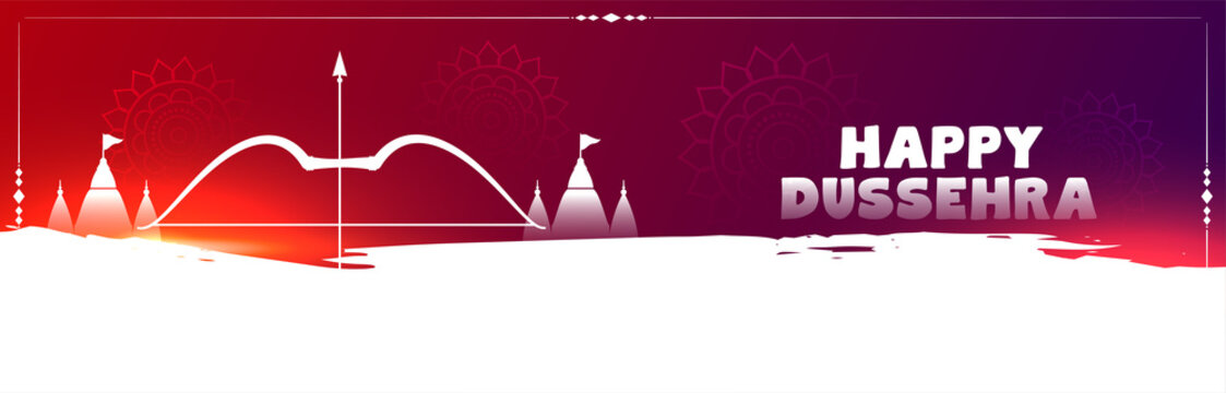 Happy dussehra celebration banner with bow and arrow temple vector