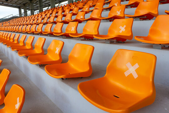 Social distance Chair in football stadium  thailand.