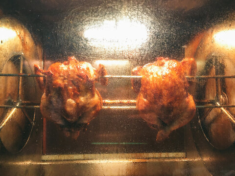 Roasted chickens.