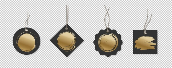 Black price or label tags with gold brush mockup template set. Cards with strings for sales of different shapes: round, rectangle, square. Stickers on transparent background vector illustration Fotobehang