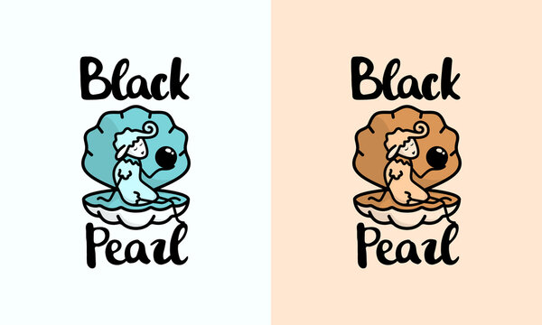 illustration vector graphic of abstract mark, badge, emblem, stamp, sticker, modern, character, mascot, combination for black pearl and shells clam and abstract sheep logo design