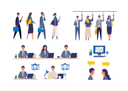 A day of working businessmen. Flat design vector illustration of business people.