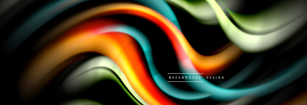 Dynamic motion abstract background. Color blurred stripes on black. Wave liquid lines poster. Vector illustration