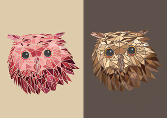 Handwritten illustration vector of colorful owls and horned owl