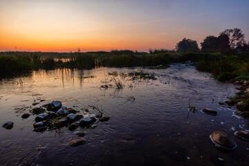 Kładka Śliwno-Waniewo; przystań Waniewo Narwiański Park Narodowy,Podlasie, Polska