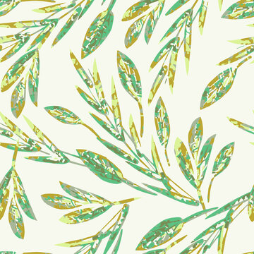 Painted Leaves Seamless Pattern.
