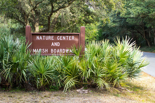 Sign for the nature center and boardwalk in the Low country of South Carolina at Huntington Beach State Park in Myrtle Beach.