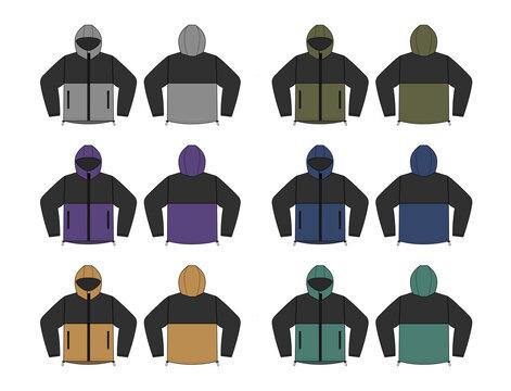 windproof hooded jacket ( parka) vector illustration set
