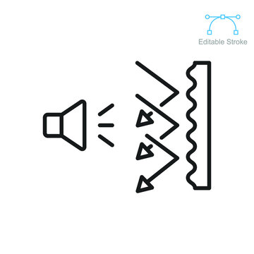 Soundproof icon. Sound insulation. Noise absorbing line symbol. Soundproofing room in multimedia or music studio. Editable stroke vector illustration. Design on white background. EPS 10