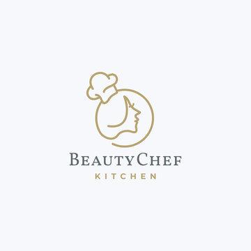 Women Beauty Face Chef Hat Vector. Cooking, Restaurant, Food Logo Design