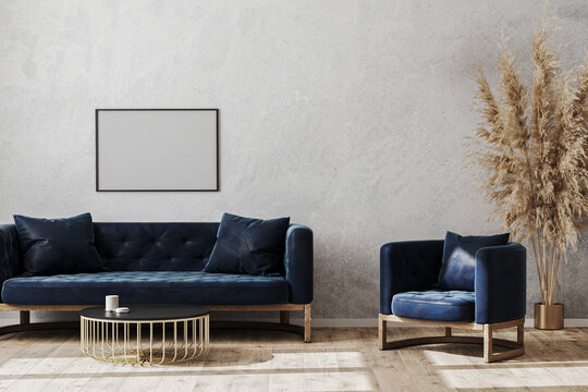 Blank poster frame in modern scandinavian style living room interior mock up with dark blue sofa and armchair, living room interior background, 3d rendering