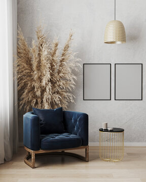 Poster frame mock up in modern living room interior background with dark blue armchair and gray wall, minimalistic scandinavian style, 3d illustration