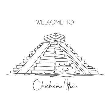 One continuous line drawing Chichen Itza Mayan Pyramid landmark. World iconic place in Yucatan Mexico. Holiday vacation wall decor art poster print concept. Single line draw design vector illustration